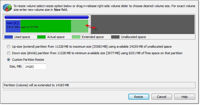 Create Partition dialog. Active@ UNDELETE
