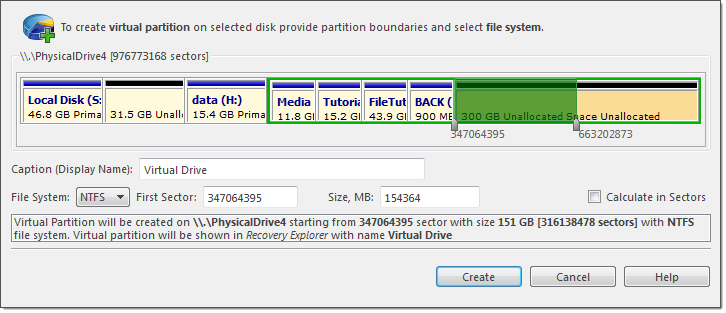 Create virtual partition dialog