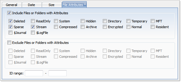 File Attributes Criteria