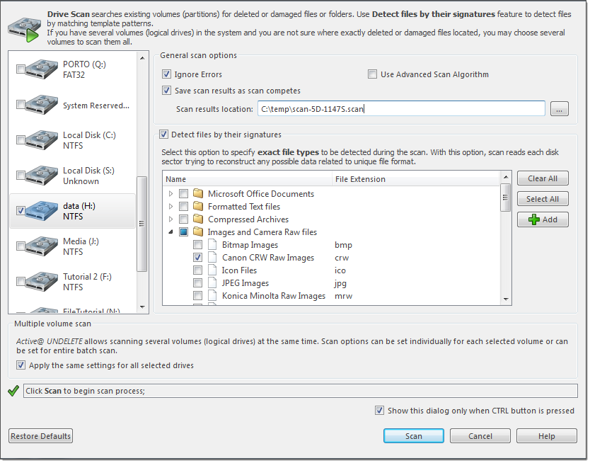 Scan volumes dialog